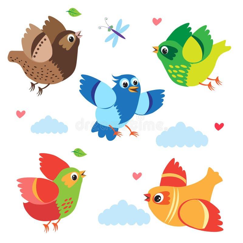 Oiseaux colorés volants Oiseaux de vecteur Placez l'illustration de bande dessinée illustration stock