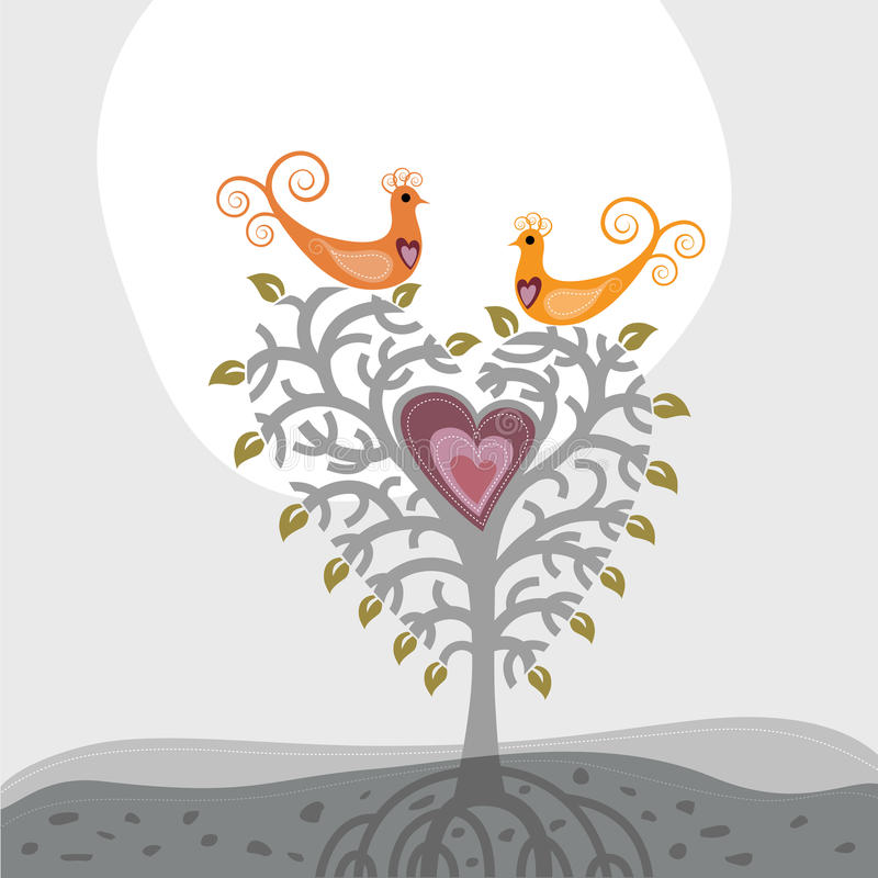 Oiseaux d'amour et arbre de coeur illustration libre de droits