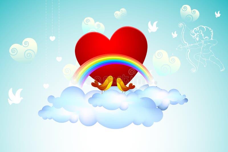 Oiseaux d'amour sur le nuage illustration stock