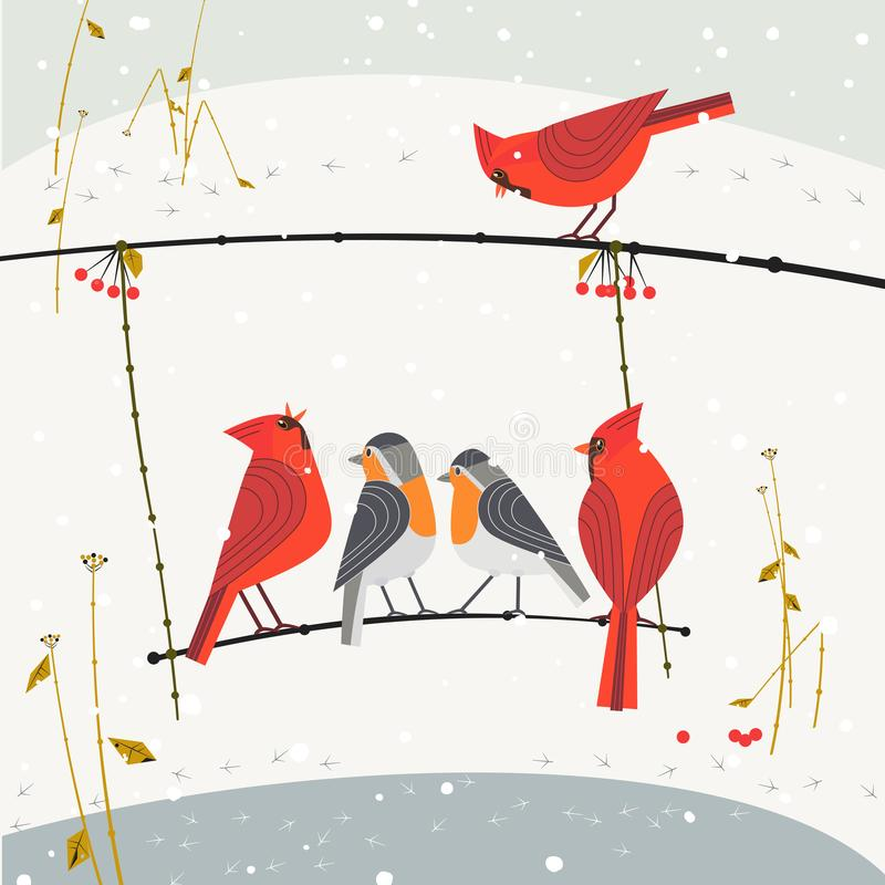 Oiseaux d'hiver sur l'oscillation d'arbre illustration stock