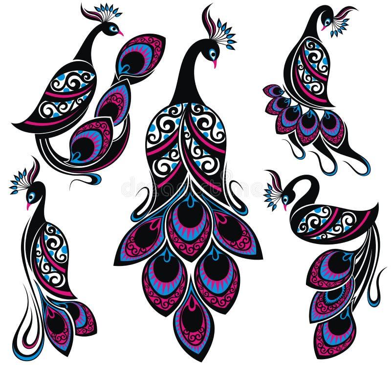 Oiseaux d'imagination de dessin de paon Collection de paons illustration stock