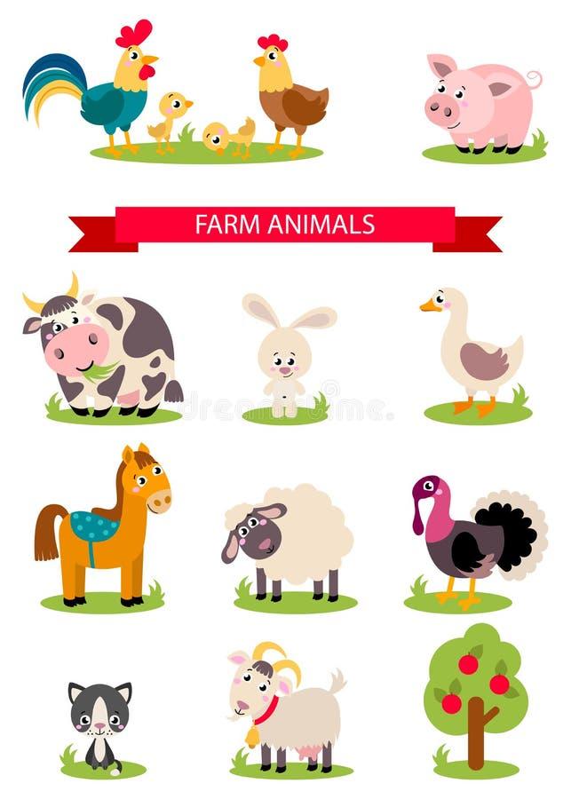 Oiseaux d'isolement grand par ensemble de ferme, animaux illustration stock