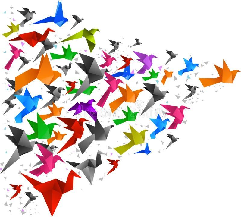 Oiseaux d'origami pilotant 2 illustration de vecteur