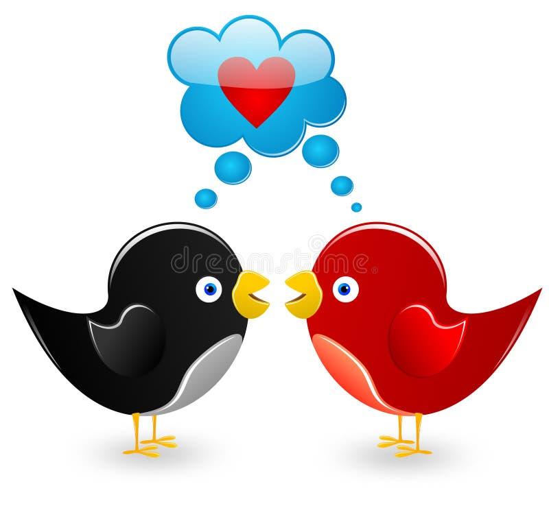 Oiseaux dans l'amour illustration de vecteur