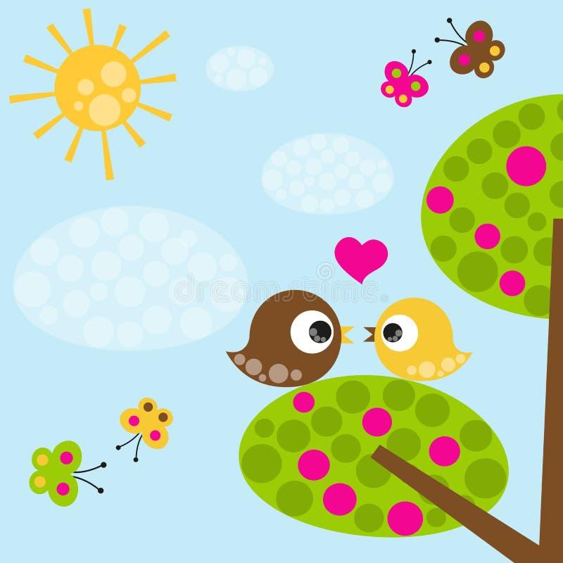 Oiseaux dans l'amour illustration libre de droits
