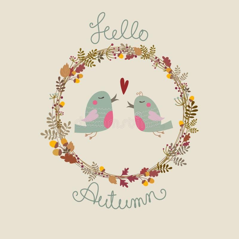 Oiseaux dans l'amour Illustration d'Autumn Vector illustration de vecteur
