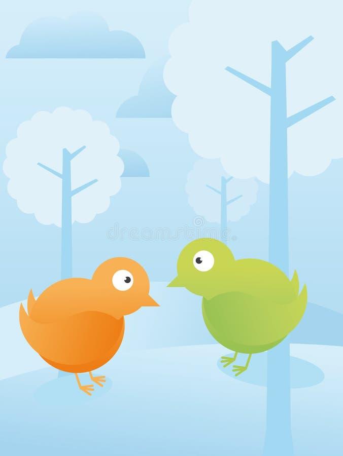 Oiseaux dans la forêt illustration de vecteur