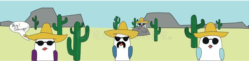 Oiseaux dans le désert illustration de vecteur