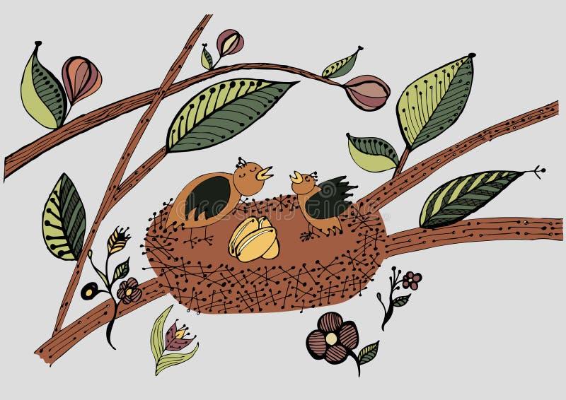 Oiseaux dans le nid avec des oeufs illustration libre de droits