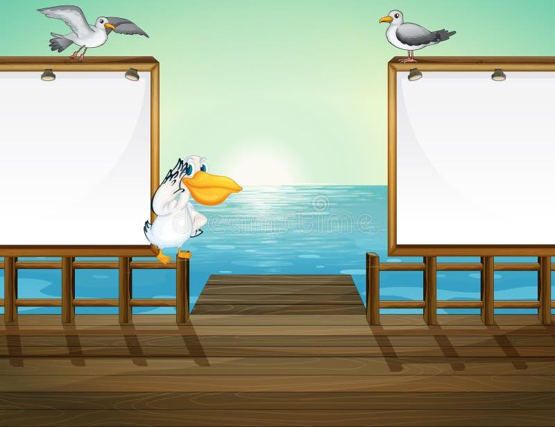 Oiseaux dans le port illustration de vecteur