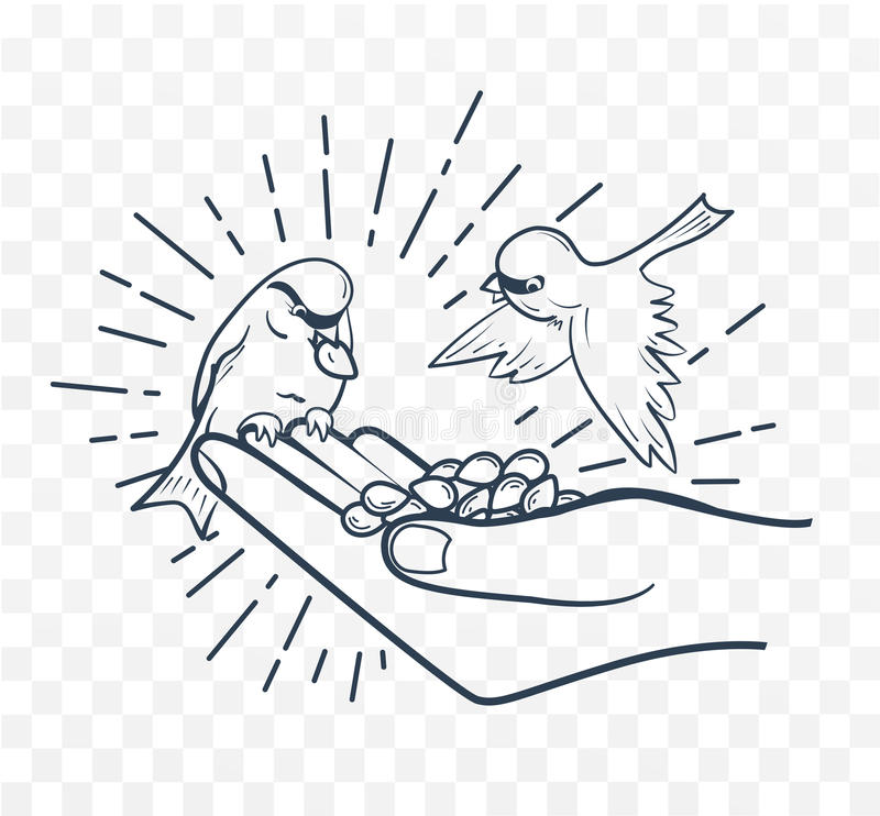 Oiseaux de alimentation de silhouette linéaire de main de graines illustration libre de droits
