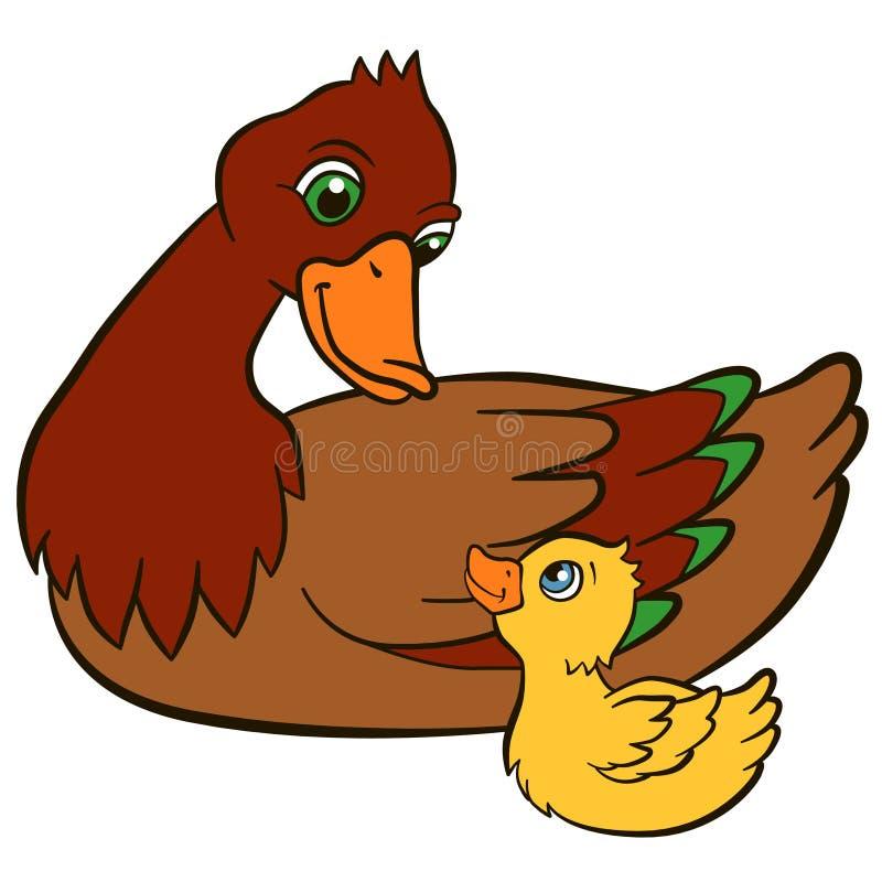 Oiseaux de bande dessinée pour des enfants Canard de mère avec son caneton mignon illustration libre de droits