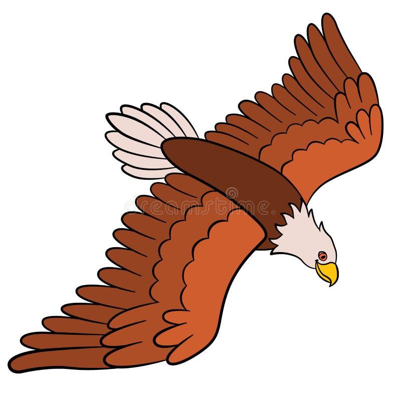 Oiseaux de bande dessinée pour des enfants : Eagle Vol mignon d'aigle chauve illustration libre de droits