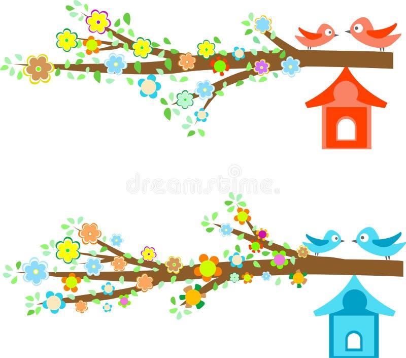 Oiseaux de cartes se reposant sur des branchements et des birdhouses illustration de vecteur