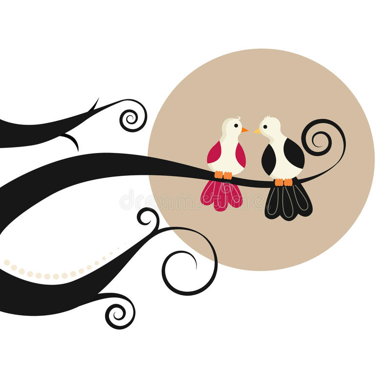 Oiseaux de couples illustration stock
