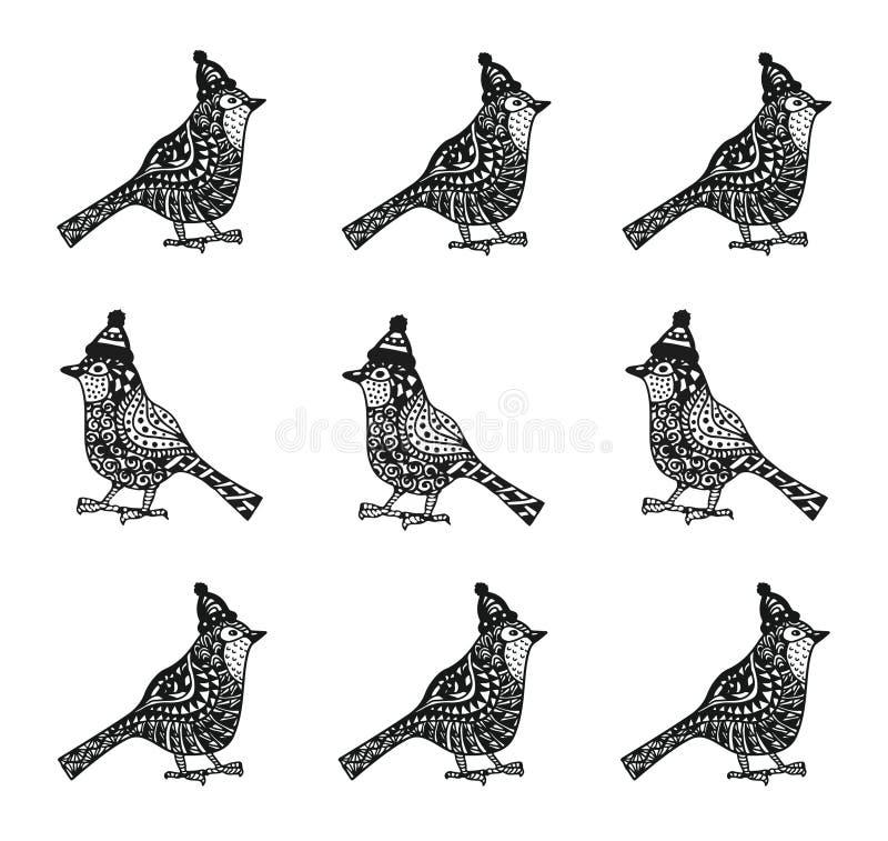 Oiseaux de Cristmas avec le modèle de zentagle de chapeaux illustration stock