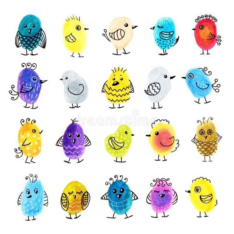 Oiseaux de doodle colorés et abstraits dessinés à la main illustration libre de droits