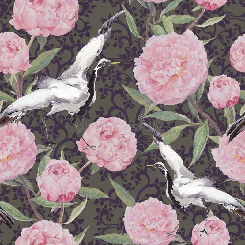 Oiseaux de grue, fleurs de pivoine Modèle ethnique de répétition floral watercolor illustration libre de droits