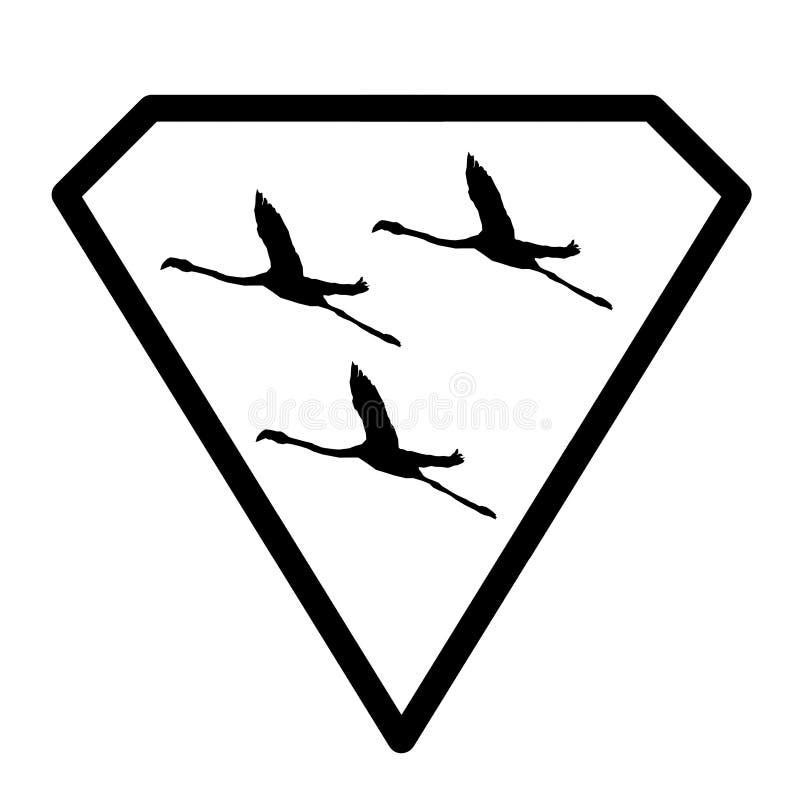 Oiseaux de Logo Banner Image Flying Flamingo en Diamond Shape sur le fond blanc illustration de vecteur