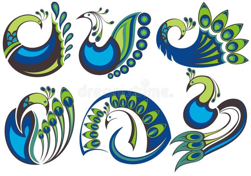 Oiseaux de paon illustration stock