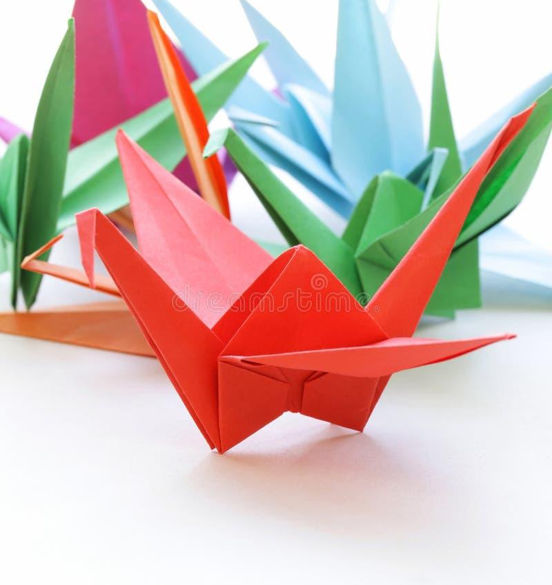 Oiseaux de papier colorés d'origami image libre de droits