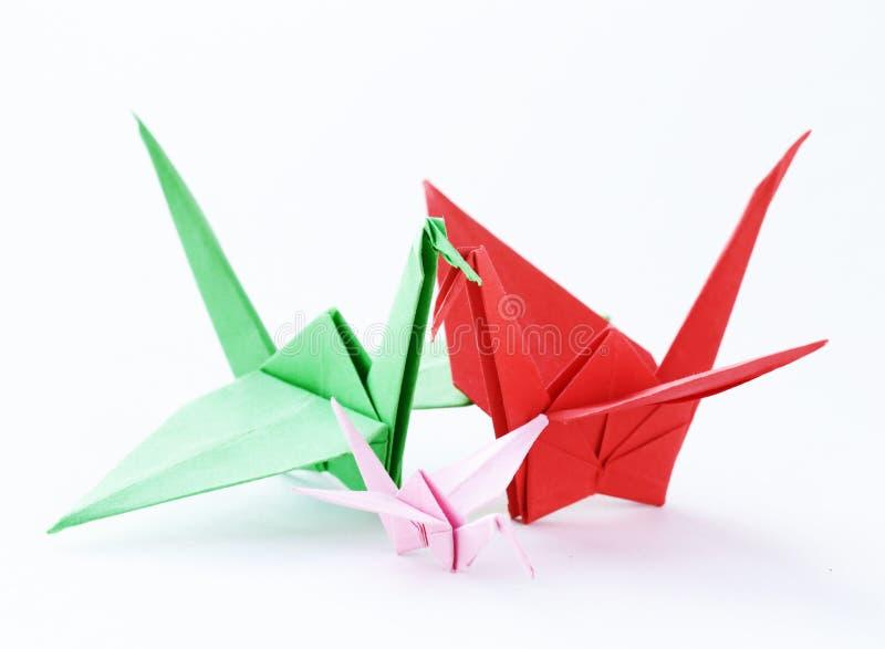 Oiseaux de papier colorés d'origami photos stock