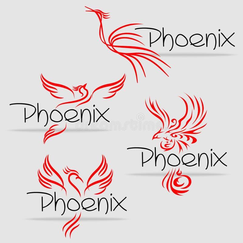 Oiseaux de Phoenix, oiseaux de flammes illustration de vecteur