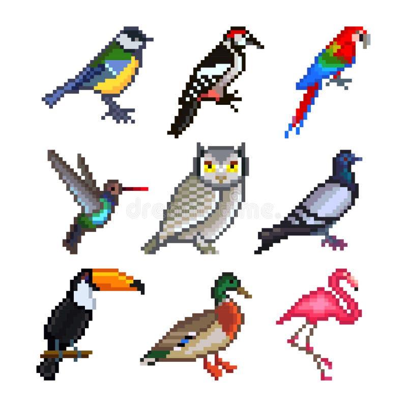 Oiseaux de pixel pour l'ensemble de vecteur d'icônes de jeux illustration de vecteur