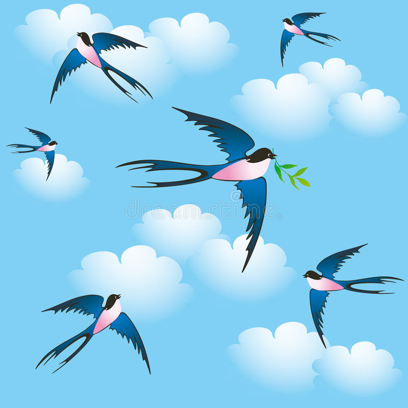 Oiseaux de source illustration de vecteur