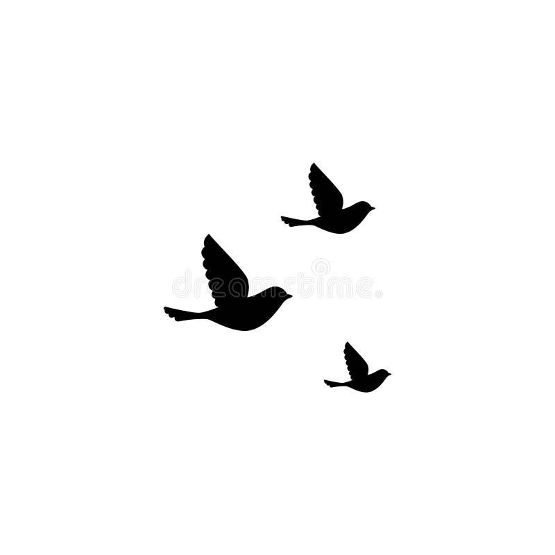 Oiseaux de vol d'isolement sur le fond blanc Illustration de vecteur illustration stock