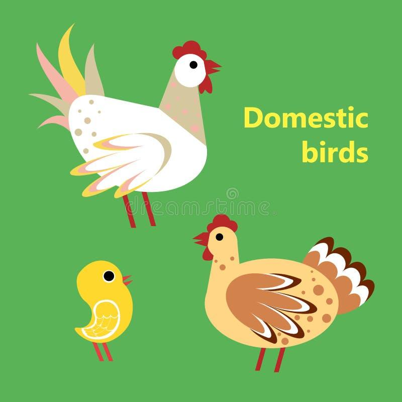 Oiseaux domestiques coq, poule et poulet illustration de vecteur