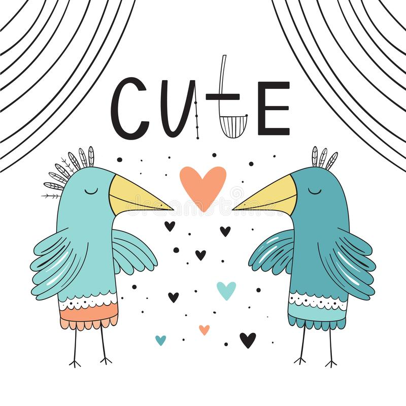 Oiseaux doux et affectueux Dirigez l'illustration du style scandinave sur un fond blanc Fond des enfants s, copie illustration libre de droits