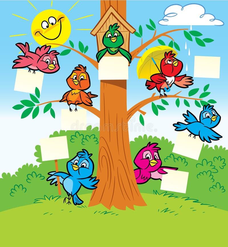 Oiseaux drôles sur un arbre illustration de vecteur