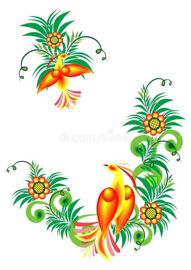 Oiseaux du paradis abstraits sur les branchements floraux illustration stock