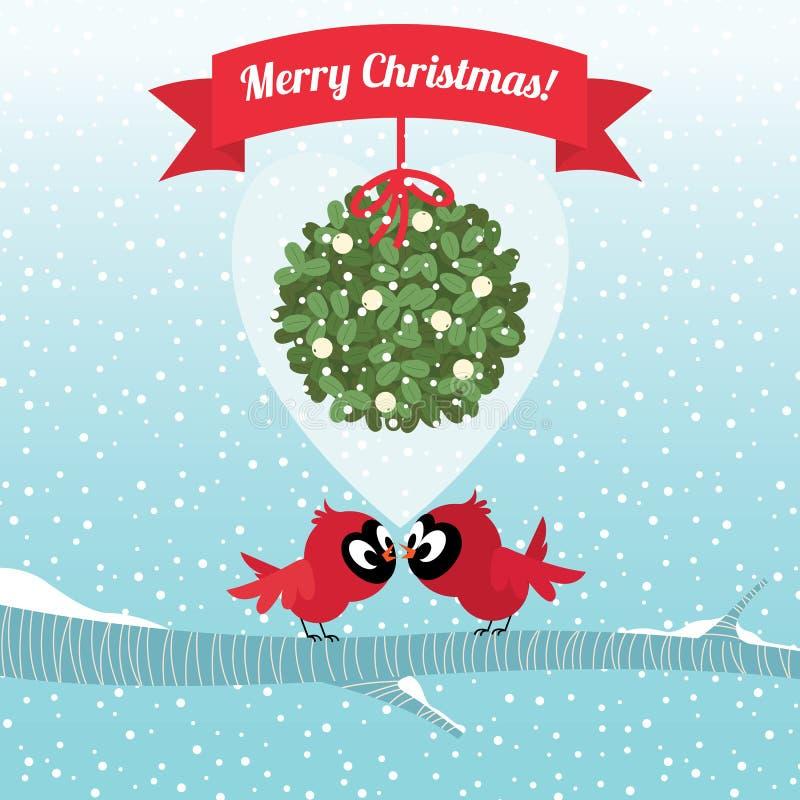 Oiseaux embrassant sous une branche de Noël de gui illustration de vecteur