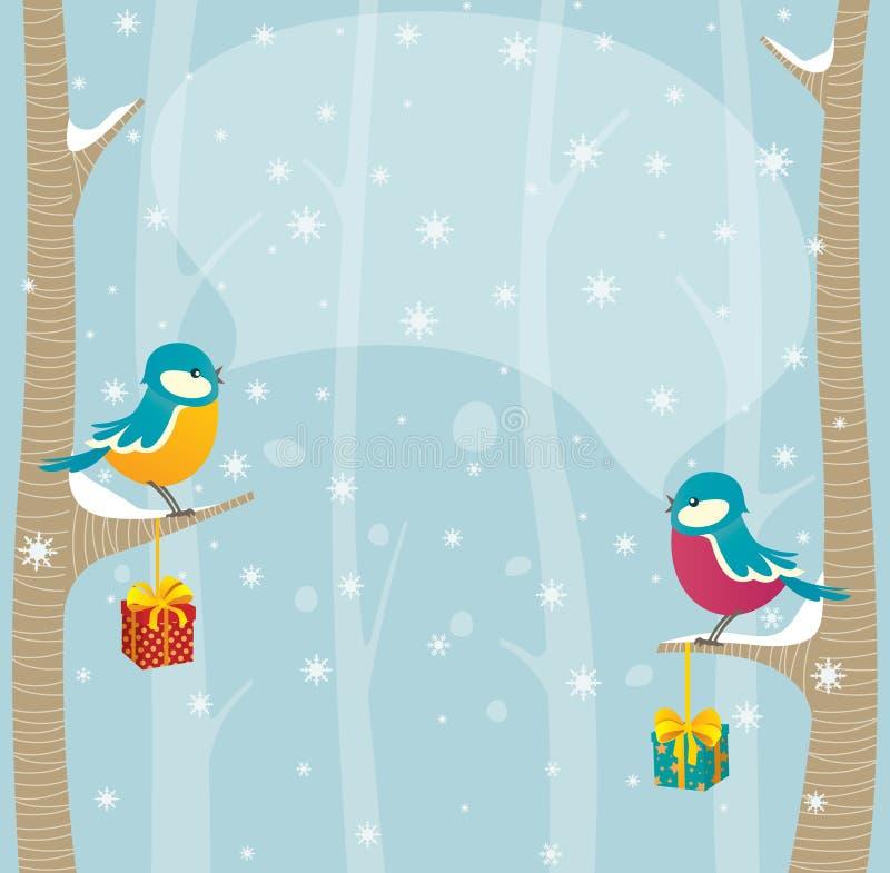 Oiseaux en forêt de l'hiver illustration de vecteur