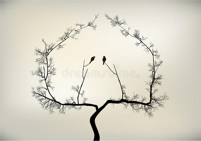 Oiseaux et arbre illustration stock