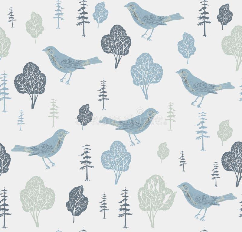 Oiseaux et arbres. illustration stock