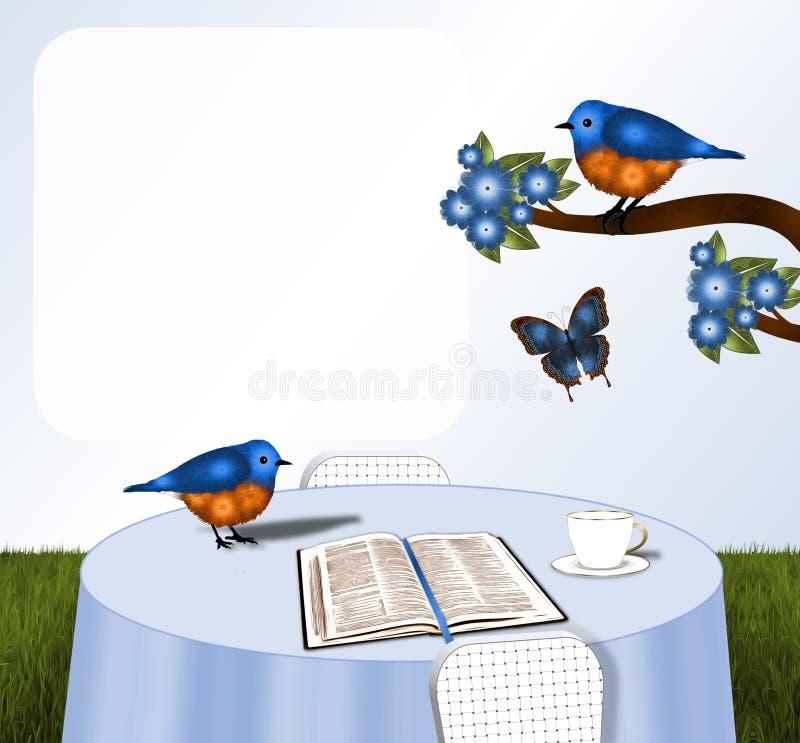 Oiseaux et bible sur le Tableau illustration stock