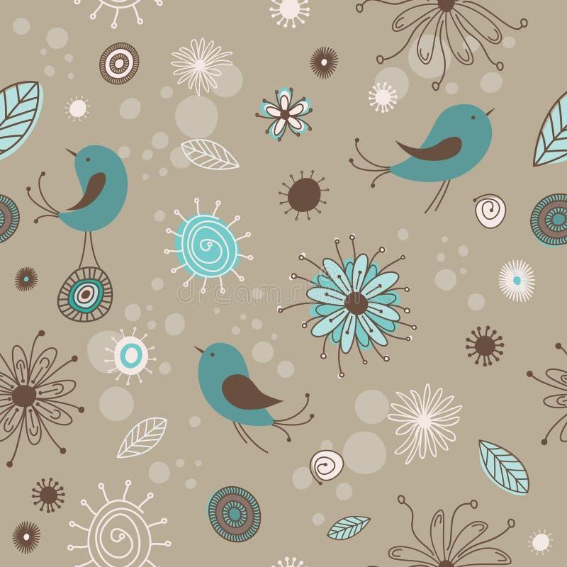 Oiseaux et fleurs illustration stock