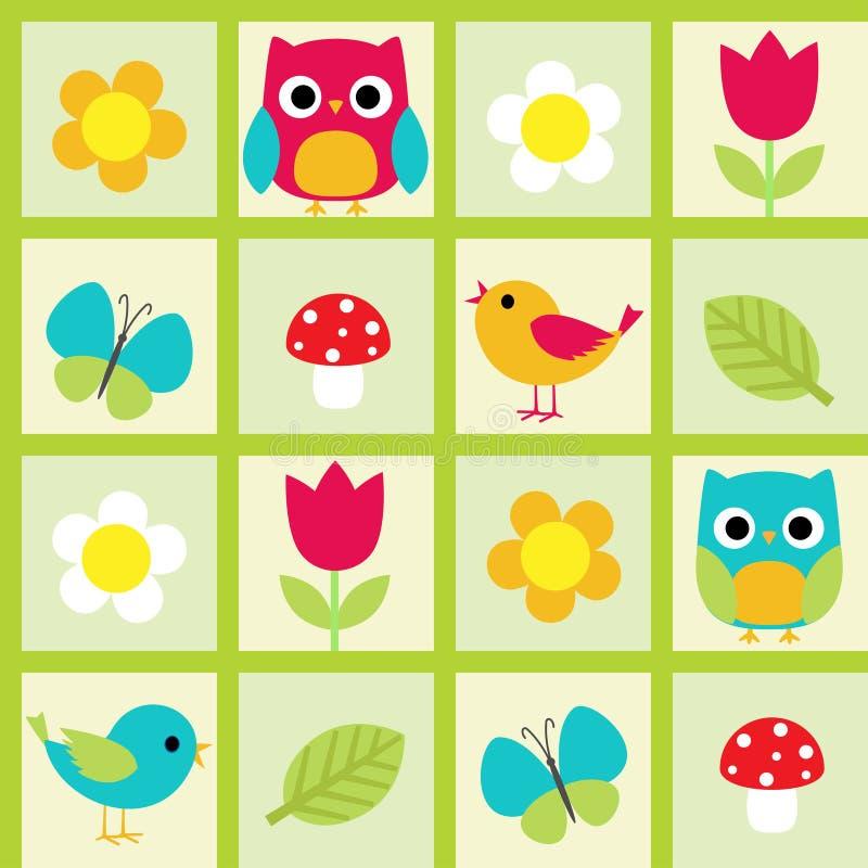 Oiseaux et fleurs illustration de vecteur