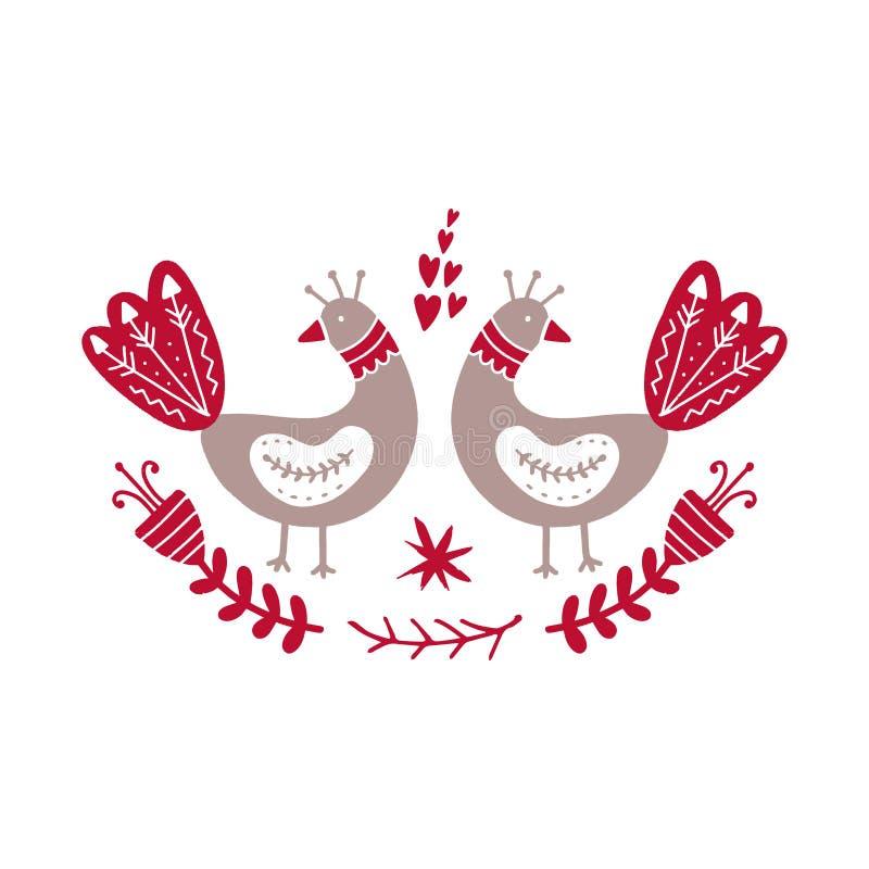 Oiseaux et fleurs scandinaves de style Illustration de vecteur illustration stock