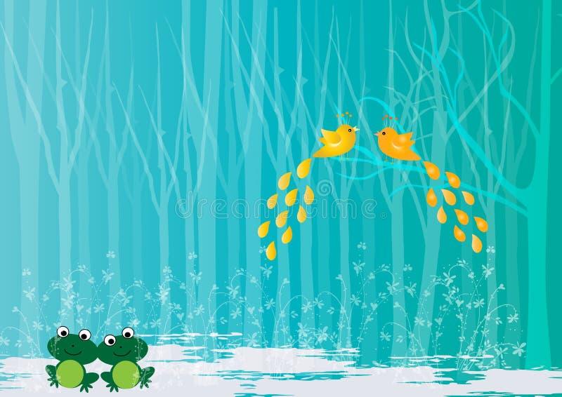 Oiseaux et grenouille d'amour dans la forêt illustration libre de droits