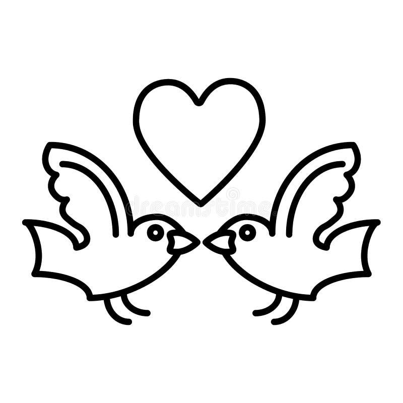 Oiseaux et ligne de coeur icône Illustration de vecteur d'oiseaux d'amour d'isolement sur le blanc Conception de style d'ensemble illustration stock