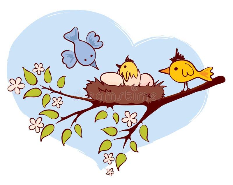Oiseaux et nanas illustration stock
