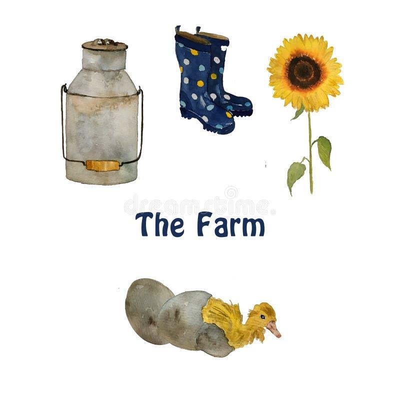 Oiseaux et objets de ferme : les petits poussins jaunes de canard, le nid avec des oeufs, les bottes de caoutchouc et le tourneso illustration libre de droits