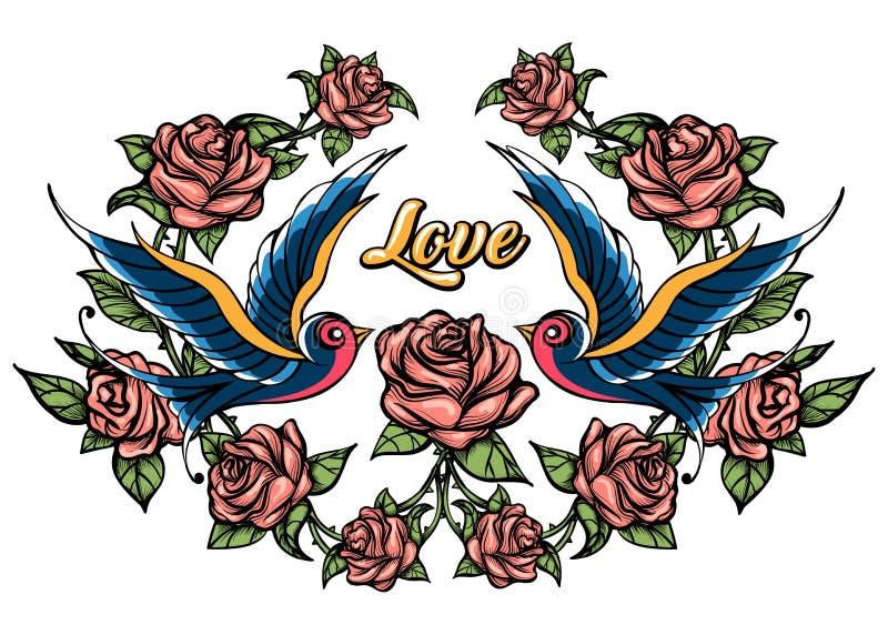 Oiseaux et roses dessinés dans le style de tatouage illustration de vecteur