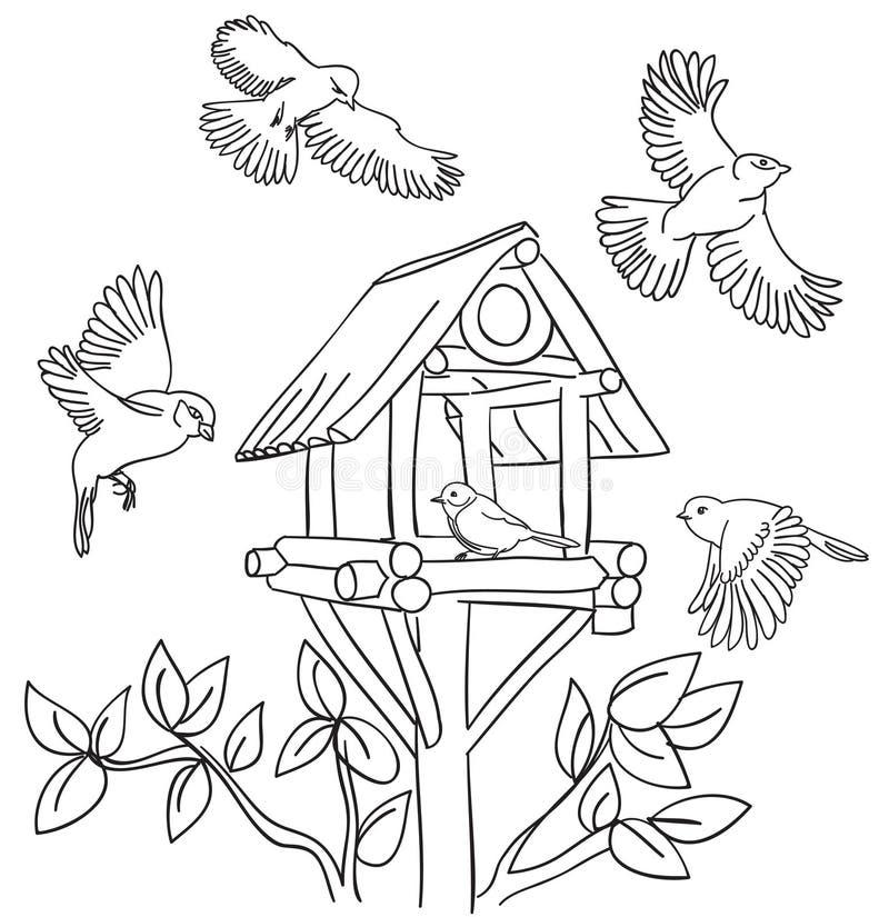 Oiseaux et trought illustration de vecteur