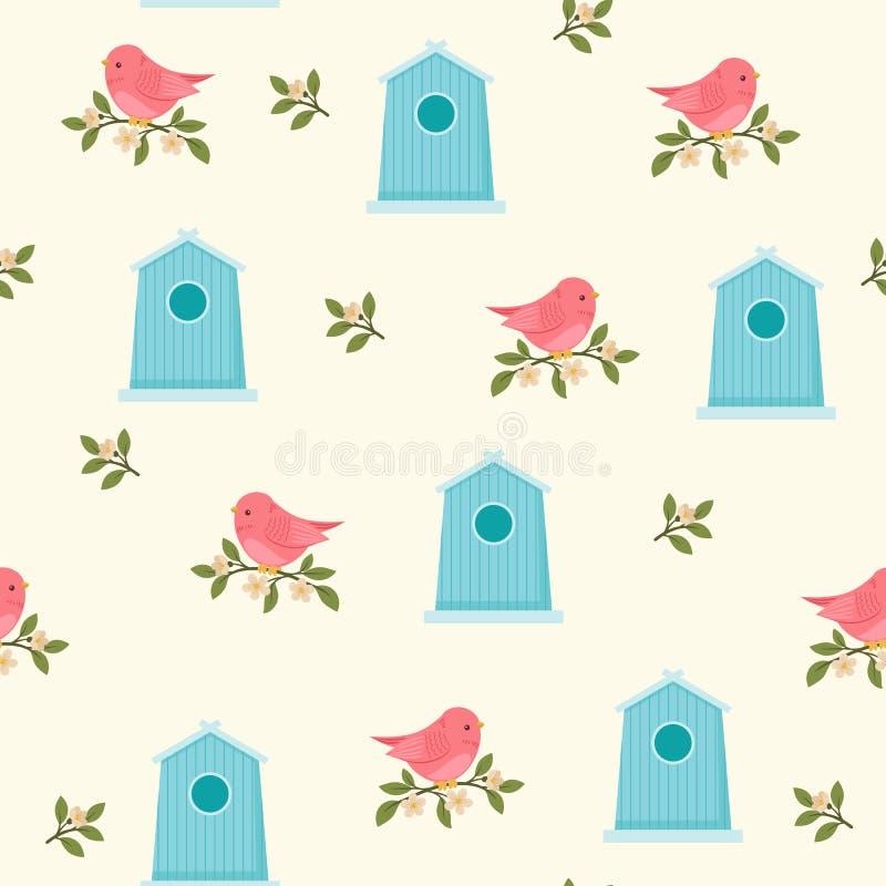 Oiseaux et volières au printemps/heure d'été illustration de vecteur
