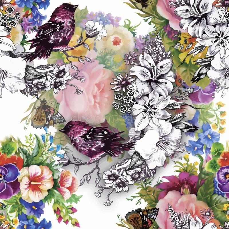 Oiseaux exotiques sauvages d'aquarelle sur le modèle sans couture de fleurs sur le fond blanc illustration libre de droits